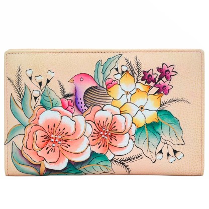 Anna by Anuschka Leather By Fold Wallet Clutch Vintage Garden