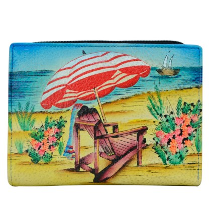 Anna by Anuschka Leather By Fold Wallet Clutch Life is a Beach