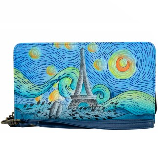 Anna by Anuschka Leather Zip Around Clutch Wristlet Wallet Love in  Paris