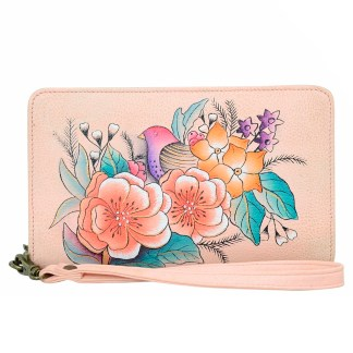 Anna by Anuschka Leather Zip Around Clutch Wristlet Wallet Vintage Garden