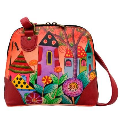 Anna by Anuschka Leather Medium Shoulder Crossbody Handbag Vilage of Dreams Rounded Rounded