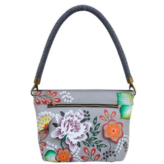 Anna by Anuschka Leather Hand Painted Medium Shoulder Hobo Handbag Garden of Eden Braided Handle