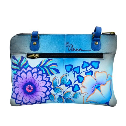 Anna by Anuschka Leather East West Shoulder Crossbody Handbag Summer Bloom Blue Organizer