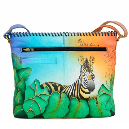 Anna by Anuschka Leather Hand Painted Tote Handbag ,Zebra Safari Shoulder Convertible