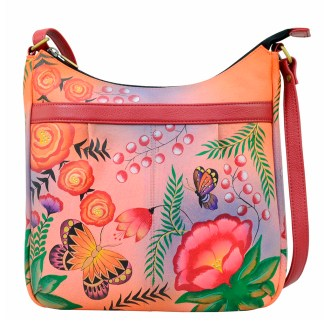 Anna by Anuschka Leather Hand Painted Medium Shoulder Hobo Handbag  Summer Garden Curved Top