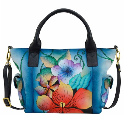 Anna by Anuschka Leather Hand Painted Tote Handbag ,Midnight Floral W Side Poackets