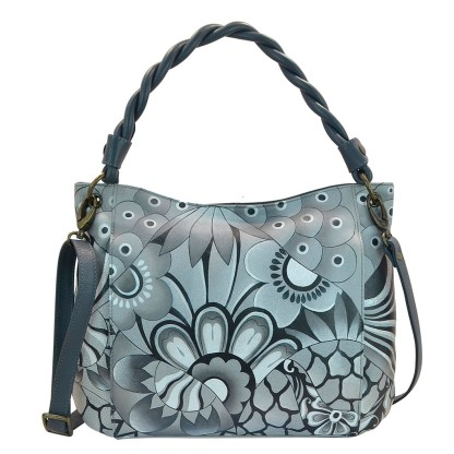Anna by Anuschka Leather Hand Painted Tote Handbag ,Patchwork Pewter W Braided Handle