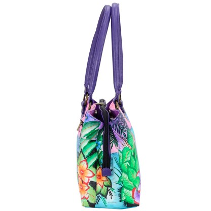 Anna by Anuschka Leather Hand Painted Satchel Handbag ,Tropical Flamingo-Large Multicompartment