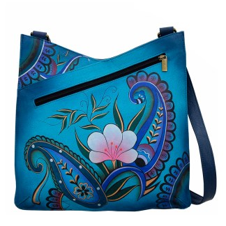 Anna by Anuschka Leather Hand Painted Medium Shoulder Hobo Handbag  Denim Paisley Floral V Top