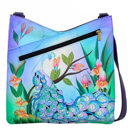 Anna by Anuschka Leather Hand Painted Medium Shoulder Hobo Handbag Midnight Peacock V Top