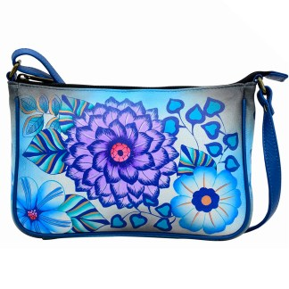 Anna by Anuschka Leather East West Shoulder Crossbody Handbag Summer Bloom Blue Pochette