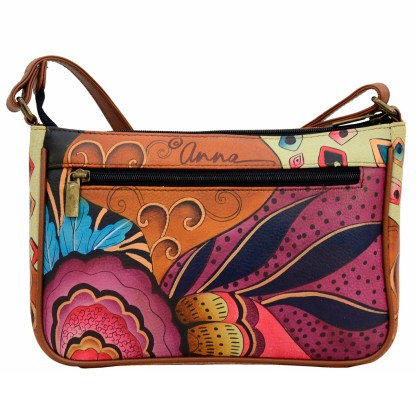 Anna by Anuschka Leather East West Shoulder Crossbody Handbag Tribal Potpouri Pochette