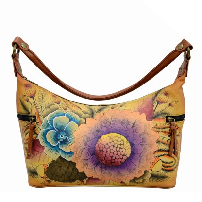 Anna by Anuschka Leather Hand Painted Medium Shoulder Hobo Handbag  Rustic Bouquet Side Zip Pockets