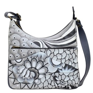 Anna by Anuschka Leather Hand Painted Medium Shoulder Hobo Handbag  Patchwork Pewter Curved Top