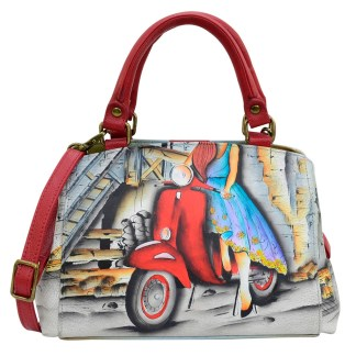 Anna by Anuschka Leather Hand Painted Satchel Handbag ,Roman Dreams-Medium Multicompartment