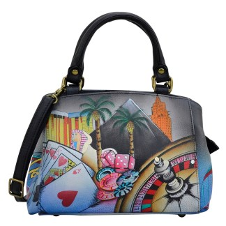 Anna by Anuschka Leather Hand Painted Satchel Handbag ,Tribal Potpouri -Medium Multicompartment