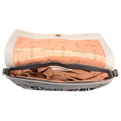 Anna by Anuschka Leather East West Shoulder Crossbody Handbag Patchwork Pewter Belted Flap