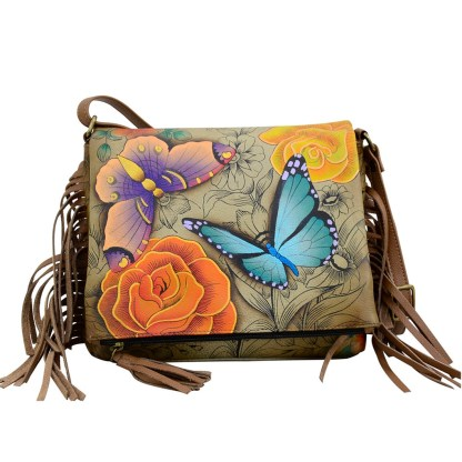 Anna by Anuschka Leather East West Shoulder Crossbody Handbag Floral Paradise Tan Fringed
