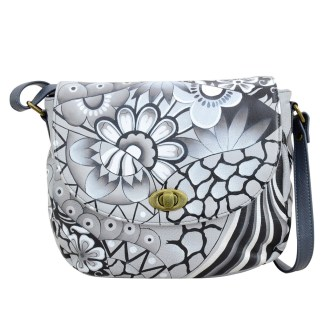 Anna by Anuschka Leather East West Shoulder Crossbody Handbag Patchwork Pewter Saddle