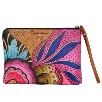 Anna by Anuschka Leather Zip Around Clutch Wristlet Wallet Tribal Potpouri