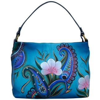 Anna by Anuschka Leather Hand Painted Medium Shoulder Hobo Handbag  Danim Paisley Floral Large E-W