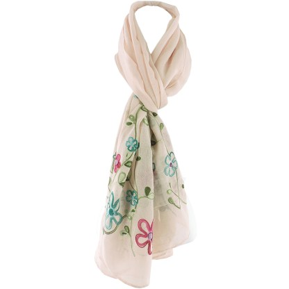 SILVERFEVER Floral Embroidery Light Scarf Shawl Wrap - Pansies on Beige