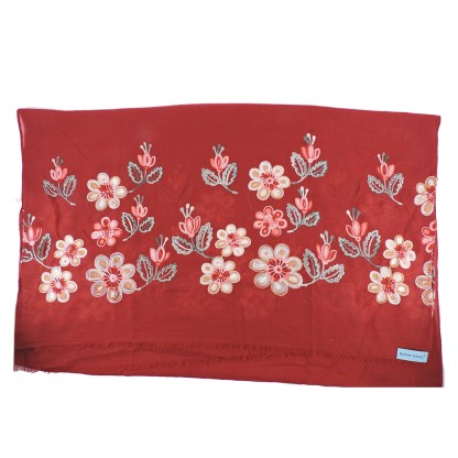 SILVERFEVER Floral Embroidery Light Scarf Shawl Wrap - Magnolias on Red