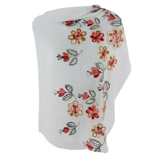 SILVERFEVER Floral Embroidery Light Scarf Shawl Wrap - Magnolias on White