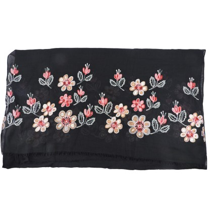 SILVERFEVER Floral Embroidery Light Scarf Shawl Wrap - Magnolias on Black