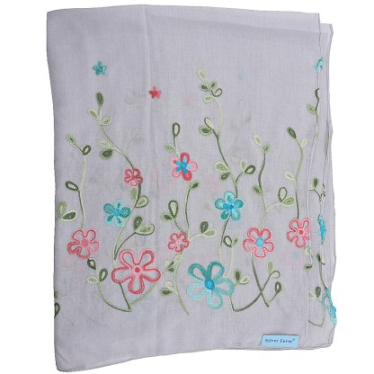 SILVERFEVER Floral Embroidery Light Scarf Shawl Wrap - Morning-Glory on White