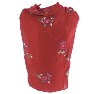 SILVERFEVER Floral Embroidery Light Scarf Shawl Wrap - Roses on Red