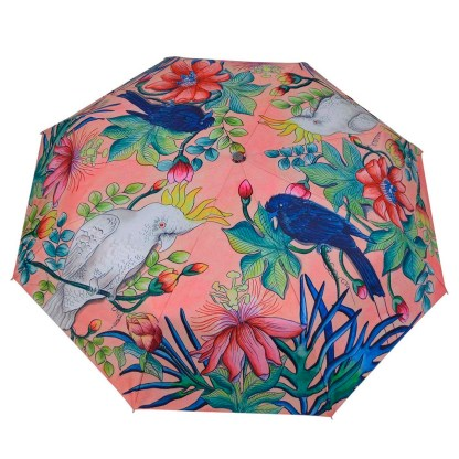 "Anuschka Art Foldable Umbrella 42"" Canopy Coverage Rain or Sun UV Protection Windproof Cockatoo Sunrise"