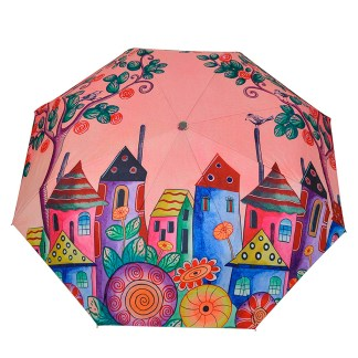 "Anuschka Art Foldable Umbrella 42"" Canopy Coverage Rain or Sun UV Protection Windproof Village of Dreams"