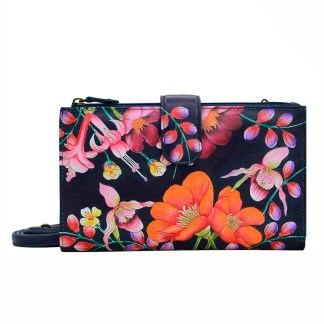 Anuschka Leather Large Smart Phone Case Wallet  Crossbody Purse Moonlit Meadow