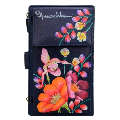 Anuschka Leather Large Smart Phone Case Wallet Crossbody Purse Moonlit Meadow