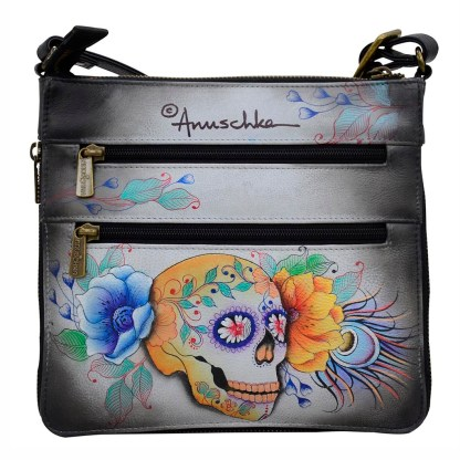 Anuschka Leather Expandable Travel Crossbody Bag Calavers de Azucar