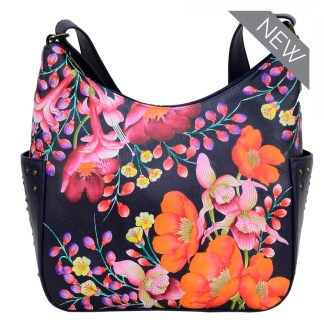 7747d0206d Anuschka Classic Genuine Leather Handpainted Hobo Side Pockets Moonlit  Meadow