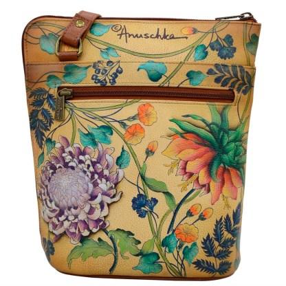 Anuschka Leather Two Sided Zip Travel Organizer Caribbean Garden