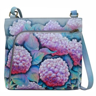 Anuschka Leather RFID Organizer Crossbody Hypnotic Hydrangeas