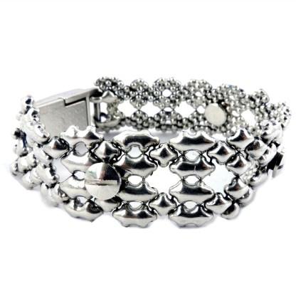 SG Liquid Metal Filigree w Nail Bracelet  Snap-On Magentic Closure by Sergio Gutierrez