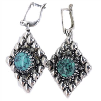SG Liquid Metal Diamond Shape with Round Turquoise Earrings - by Sergio Gutierrez