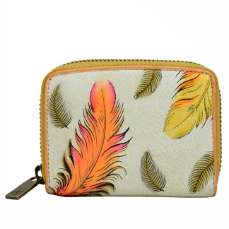 Anuschka Leather Accordion Credit Card Wallet Floating Feathers Ivory