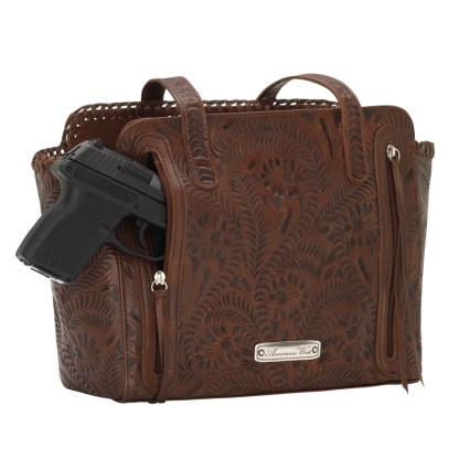 American West Leather - Multi Compartment Tote Bag - Annie's Secret - Concealed Carry Golden Tan