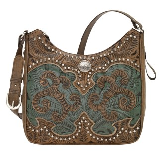 American West Leather - Shoulder Handbag Hobo Sand - Annie's Secret - Concealed Carry