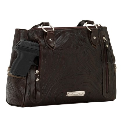 American West Leather - Multi Compartment Tote Bag - Annie's Secret - Concealed Carry Chocolate