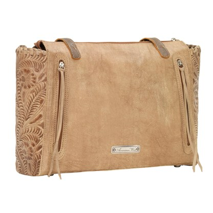 American West Leather -Large Shopper Tote Bag - Cream - Annie's Secret - Concealed Carry