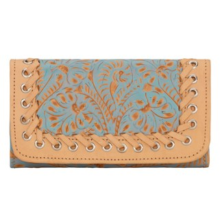American West Leather - Tri-Fold Ladies Wallet - Blue - Baja Escape