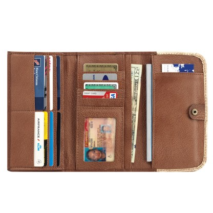 American West Leather - Tri-Fold Ladies Wallet - Chocolate w hair - Cow Town [CLONE]