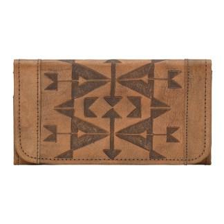 American West Leather - Tri-Fold Ladies Wallet - Brown - Crossed Arrows
