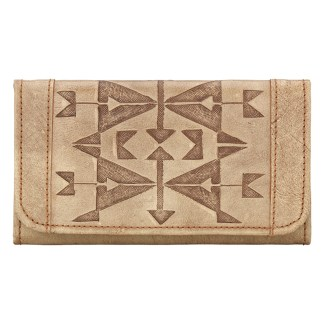 American West Leather - Tri-Fold Ladies Wallet - Tan - Crossed Arrows [CLONE] [CLONE]